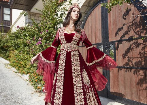 Red long sleeve formal prom dress 2 510x364 - Fascinating Red Kaftan Dress