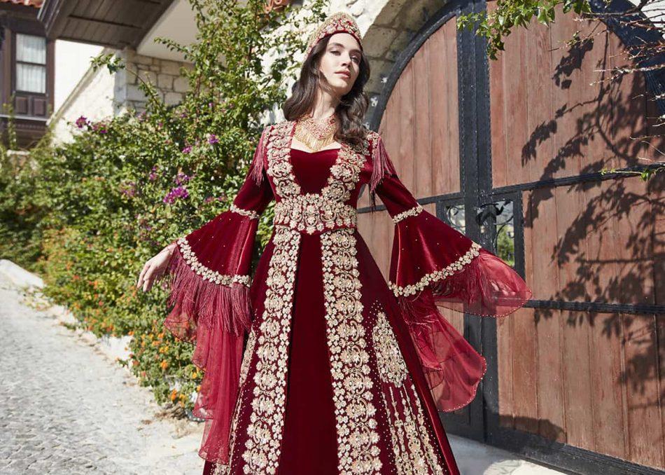 Red long sleeve formal prom dress 2 950x678 - Fascinating Red Kaftan Dress