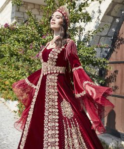 Red long sleeve formal prom dress 4 247x296 - Fascinating Red Kaftan Dress