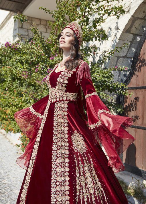Red long sleeve formal prom dress 4 510x714 - Fascinating Red Kaftan Dress