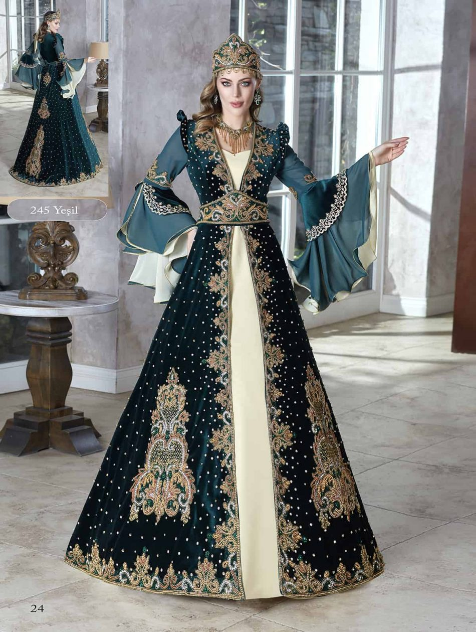 Dark Green Appliques Muslim Prom Dresses With HijabLong Sleeves Formal Party Gowns Dubai Arabic Evening Dresses Cheap