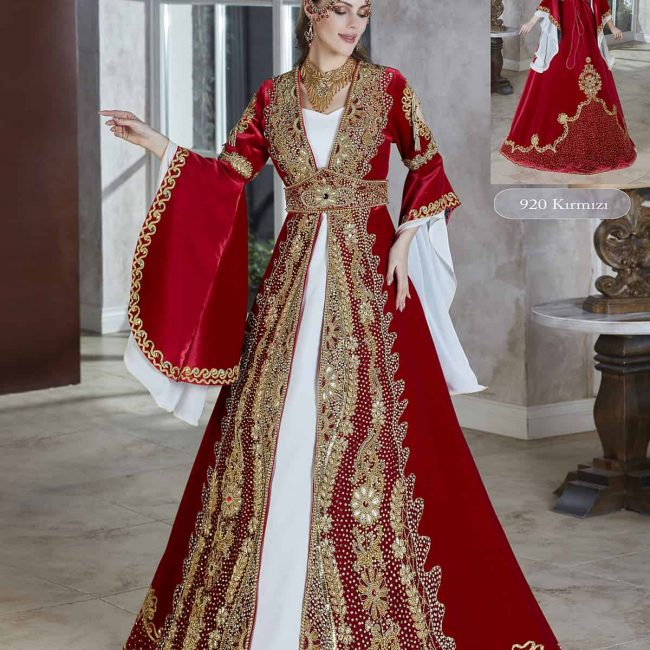 Traditional Henna Party Wear Evening Gown Kaftan Robe Dress set red and white 650x650 - Home