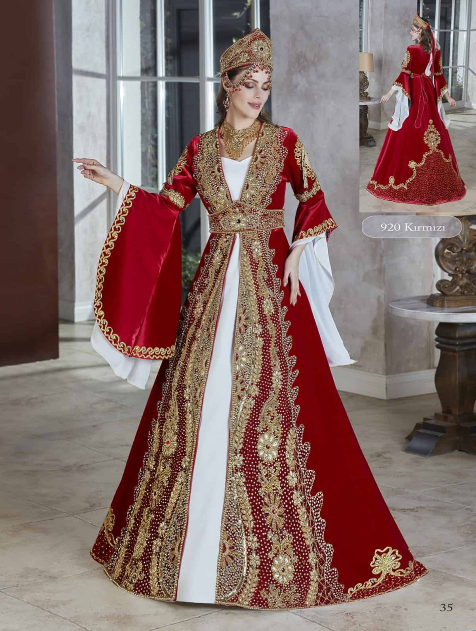 Royal red velvet gold sequin turkish moroccan long sleeve Wedding Gown Henna Party Wear Marriage Kaftan Dress set