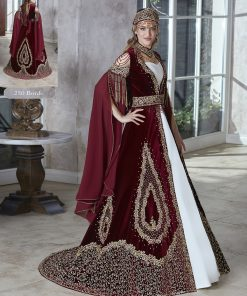fancy designer burgundy gold sequin long formal evening party kaftan gown dresses with embellished fancy long slit sleeves