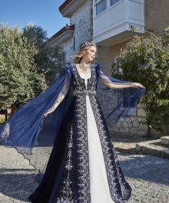 Turkish traditional navy blue henna long night evening dresses 1 247x296 - Navy Ethnic Kaftan Set
