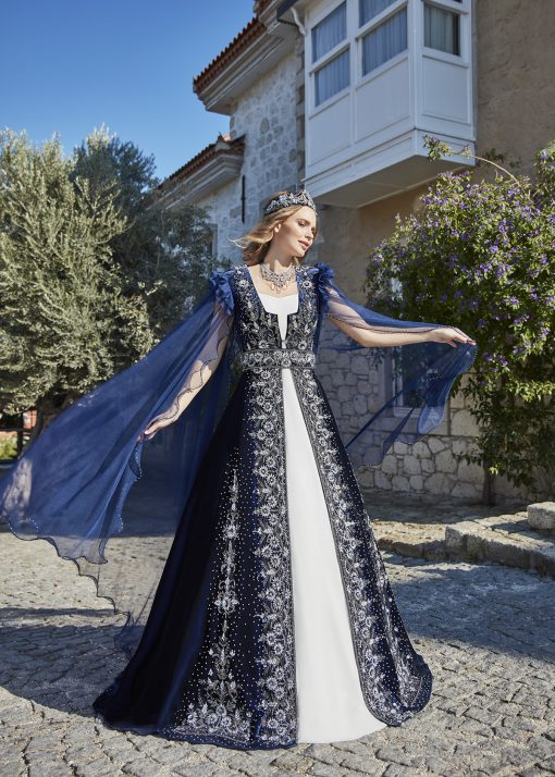 Turkish traditional navy blue henna long night evening dresses 1 510x714 - Navy Ethnic Kaftan Set