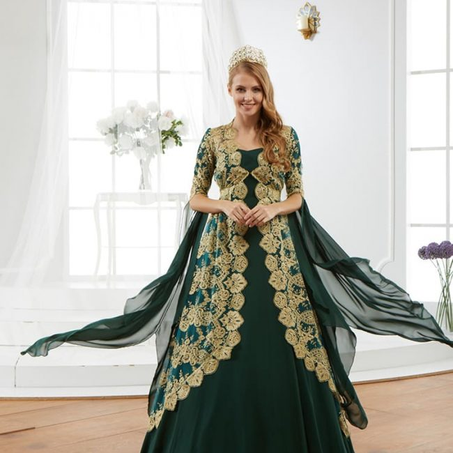 bridal-green-kaftan-dress