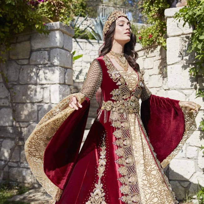 Best moroccan style ottoman turkish red wedding dress for bride