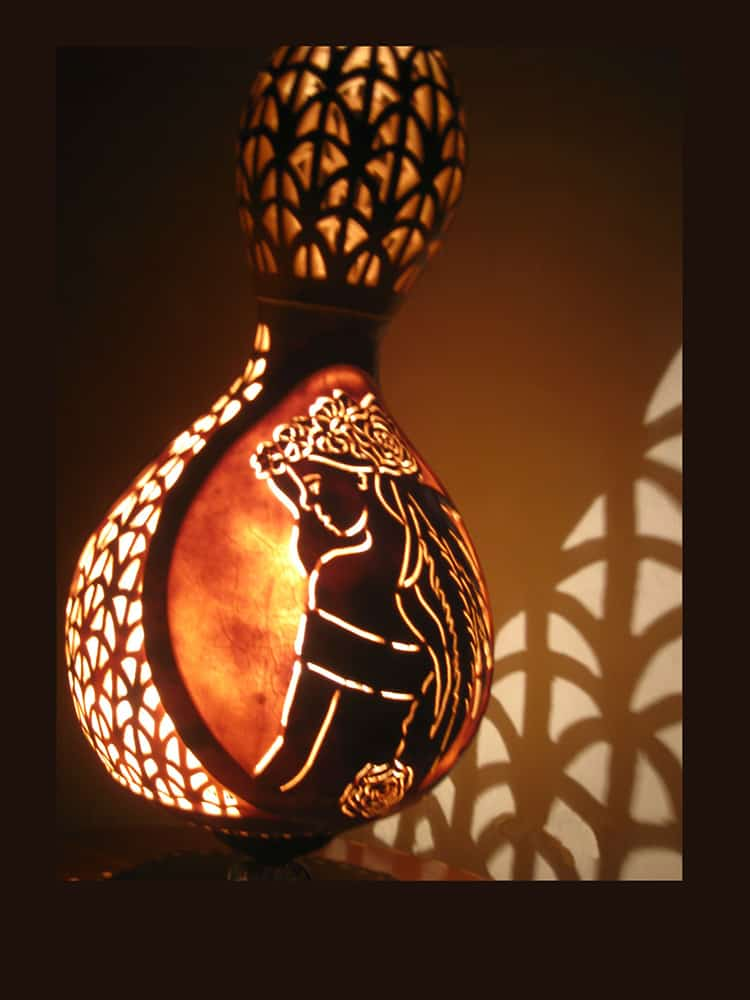 Fabulous Bridal Gourd Lampshadamazing Gourd Lamps Gourd Art Hand Carved  Gourd