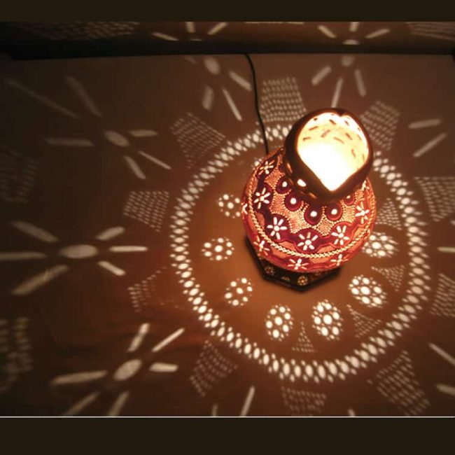 Turkeyfamousfor Beautiful Floral Gourd Lampshade 1 1 650x650 - Calabash Lights Beautiful Floral Gourd Lampshade