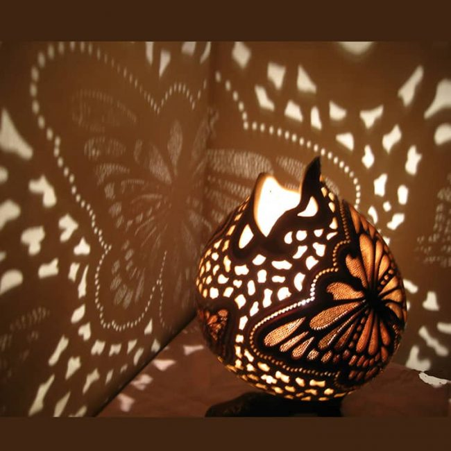 Turkeyfamousfor Butterfly Chocolate Gourd Lampshade 2 650x650 - Gourd Lamps