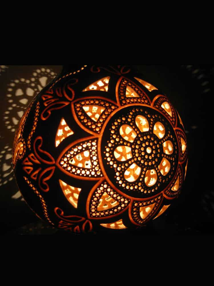 Carved Mandala Gourd Lamp Unique Handmade Eclectic Home Decor Lighting