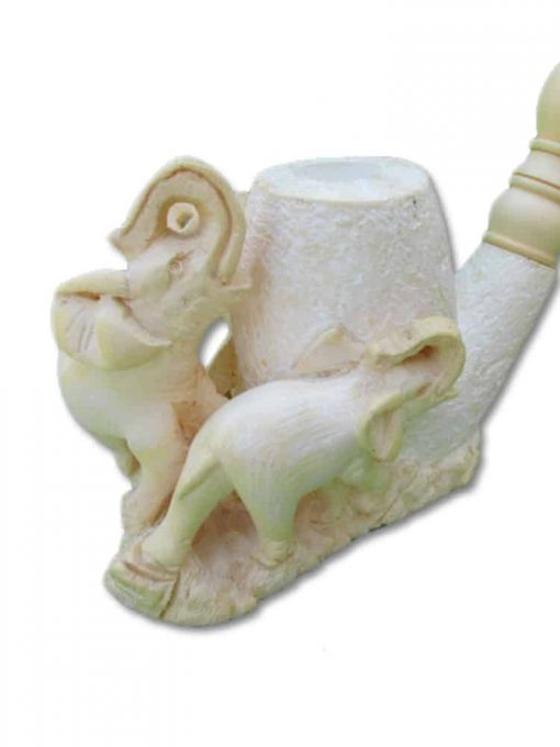 meerschaum pipe elephants hand carved 2 510x680 - Meerschaum Pipe Elephants Hand Carved