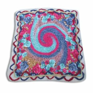 nuno-felted-placemat-big-spiral-traditional handmade gift-needle felting-wet felting-nuno felting