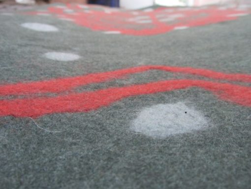 wet felted rug red cage 1 510x383 - Wet Felted Rug Red Cage