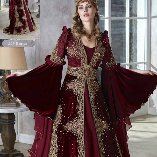 Dark Red Royal Unique Formal Evening Caftan Gowns Set With Sleeves