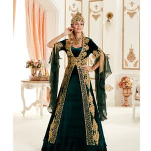 Dark Green Royal Kaftan Set