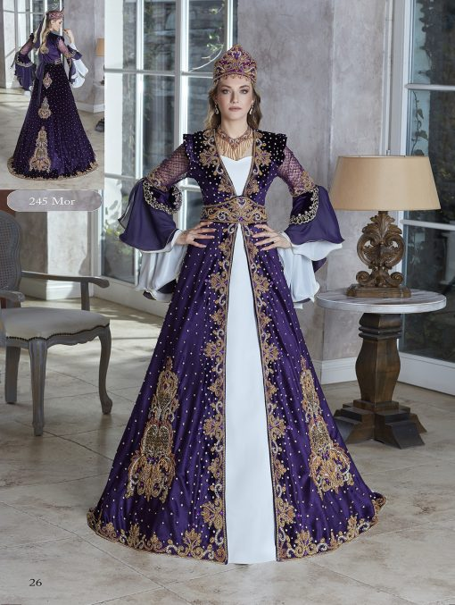 Chic purple a-line scoop floor length gold sequin colorful beading embellished kaftan ball gowns