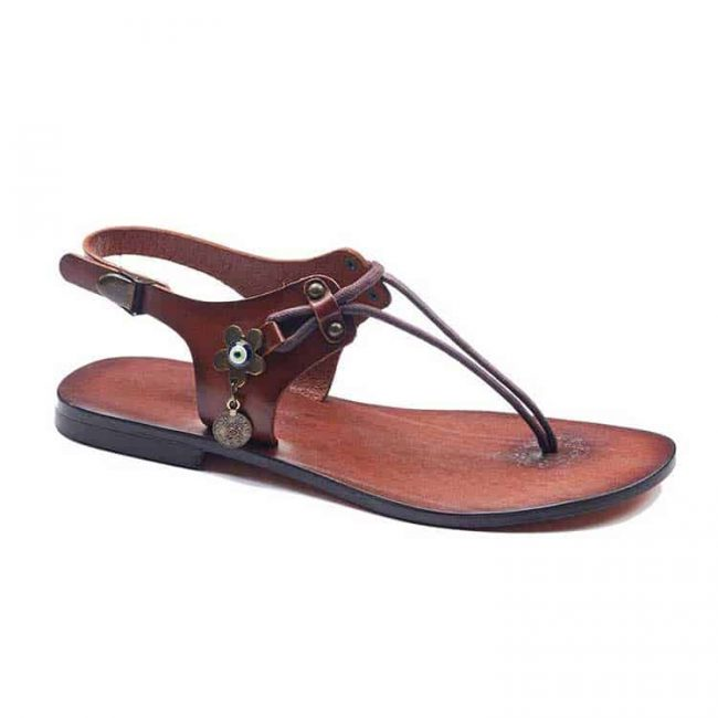 bodrum sandals evaterm sag 1965 650x650 - Leather Strapped Tan Sandals For Women