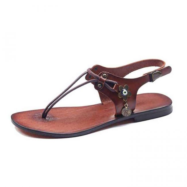 bodrum sandals evaterm sol 1965 650x650 - Leather Strapped Tan Sandals For Women