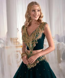 Embroidered henna evening dress for brides