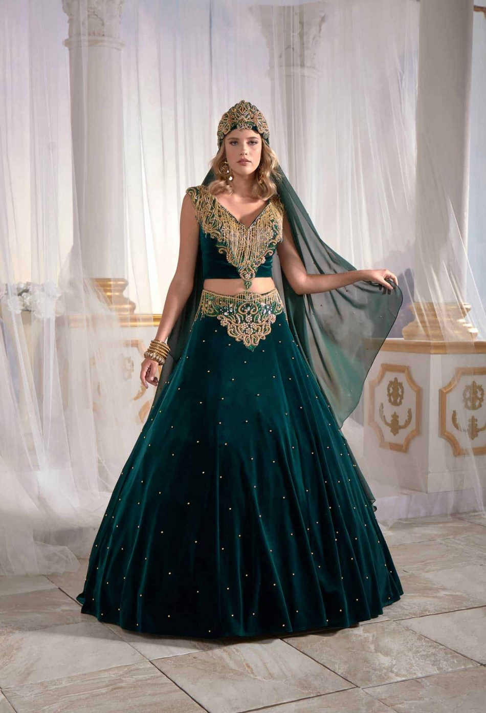 long caftan gown emerald