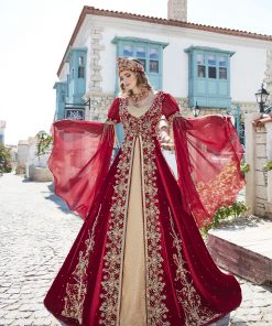 fancy kaftan dresses abaya online shopping 2 247x296 - Fancy Red Kaftan Set