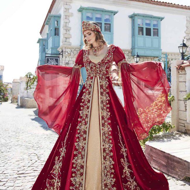 fancy kaftan dresses abaya online shopping 2 650x650 - Fancy Red Kaftan Set