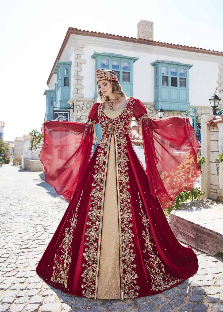 fancy kaftan dresses abaya online shopping 2 950x1330 - Fancy Red Kaftan Set