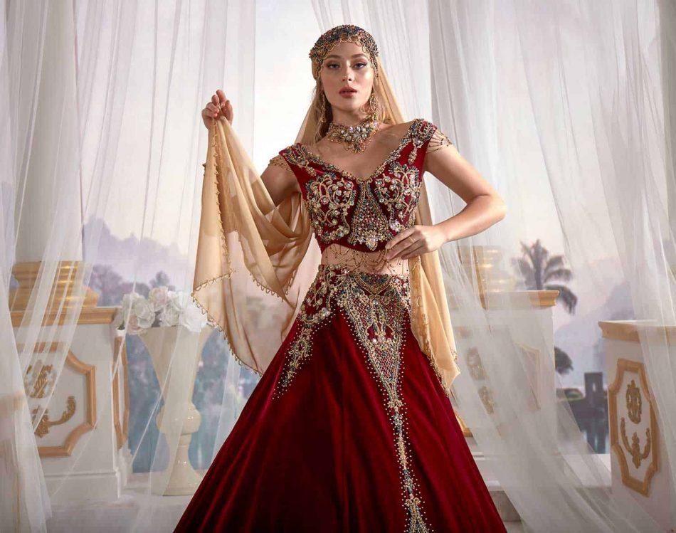 red-velvet-gold-sequins-2019-caftan-evening-dress