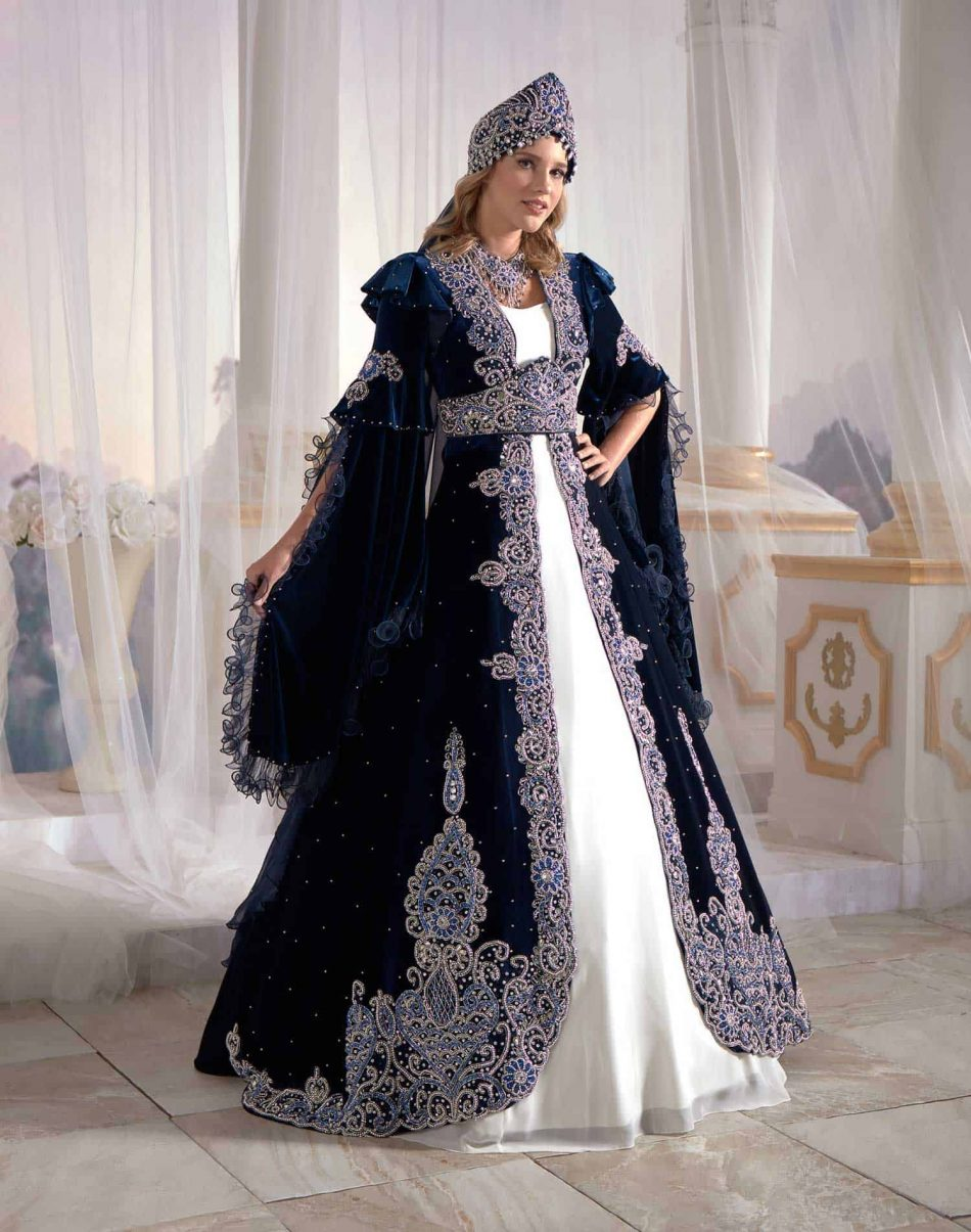 Navy Moroccan caftan dress
