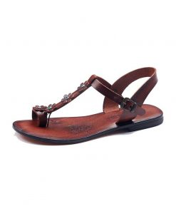 turkeyfamousfor bodrum sandals left 330 1899 247x296 - Flower Strapped Brown Sandals - 39, Leather