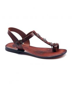 turkeyfamousfor bodrum sandals right 1899 247x296 - Flower Strapped Brown Sandals