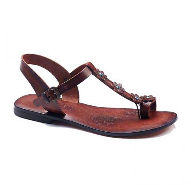 turkeyfamousfor bodrum sandals right 1899 650x650 - Flower Strapped Brown Women Sandals