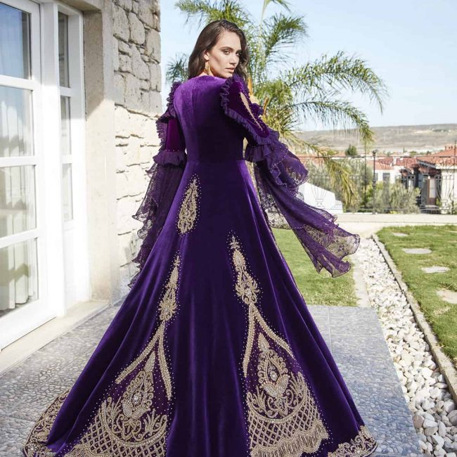buy online fancy designer dark purple long evening party dresses