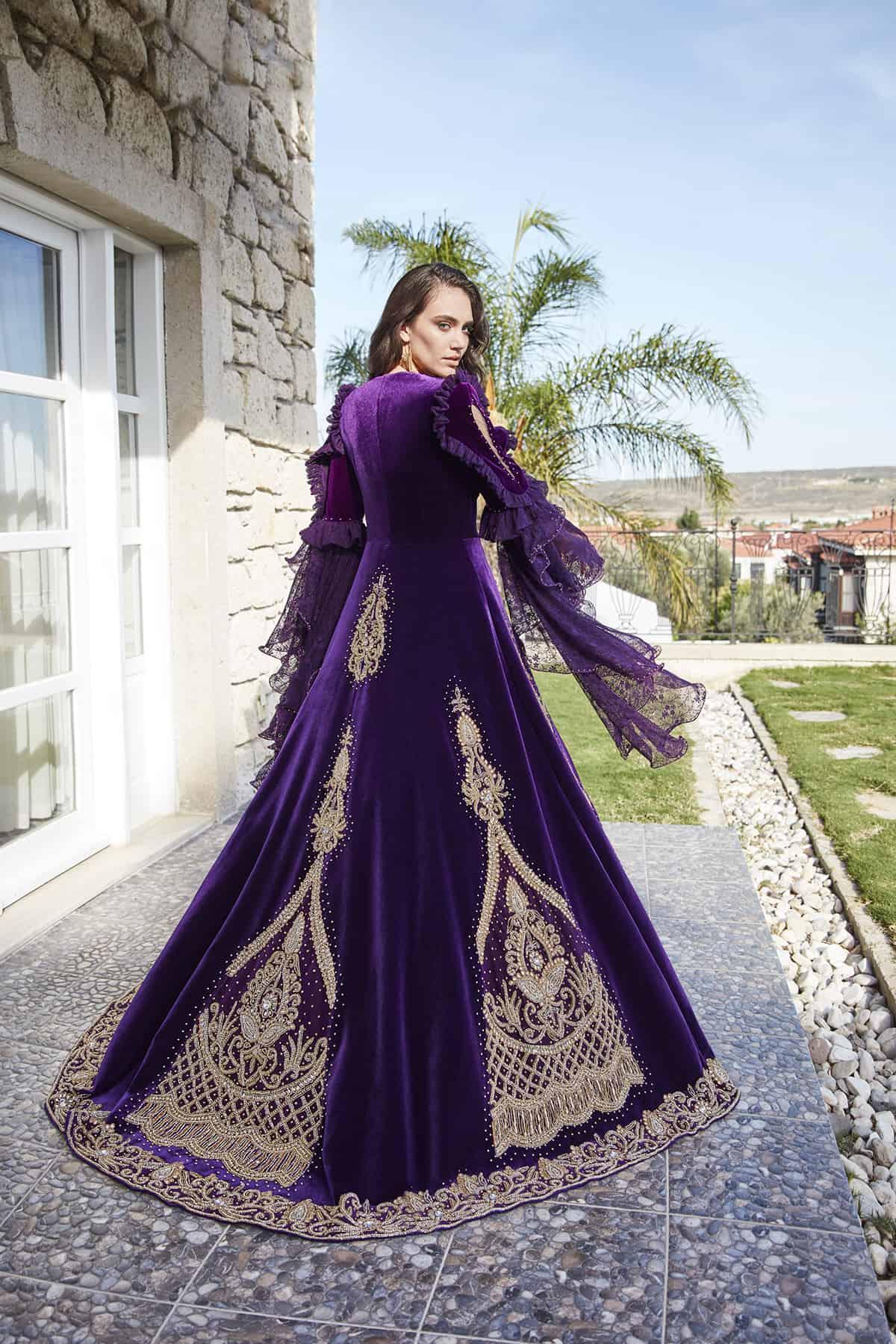 Dark Purple Royal Kaftan Set Elegant Kaftan Dress Luxury Bridal