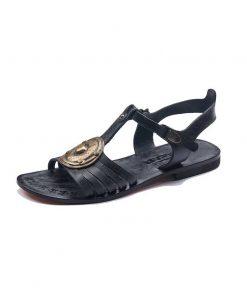 black-handmade-leather-sandals, handmade,leather,shoes