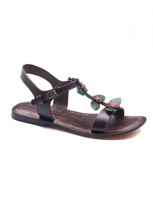 floral handmade leather sandals 1 510x680 - Floral Leather Sandals For Women