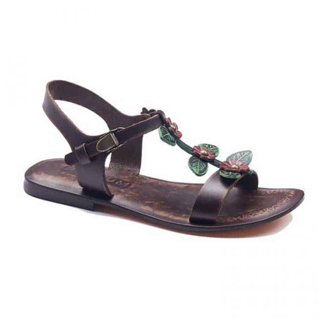 floral handmade leather sandals 1 650x650 - Floral Leather Sandals For Women