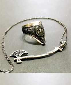 Archery Ring Axe Necklace Silver Set 247x296 - Home