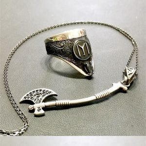 Archery Ring Axe Necklace Silver Set