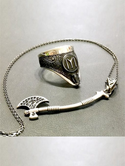 Archery Ring Axe Necklace Silver Set 510x681 - Archery Ring Axe Necklace Silver Set