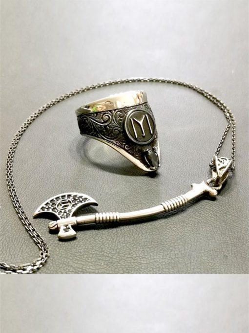 Archery Ring Axe Necklace Silver Set 510x681 - Archery Ring Axe Necklace Silver Set