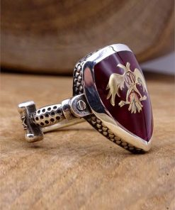 Double Headed Eagle Silver Mens Ring
