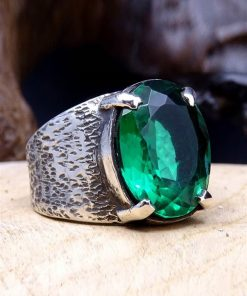 Emerald Gem Silver Mens Ring 1 247x296 - Emerald Gem Silver Mens Ring
