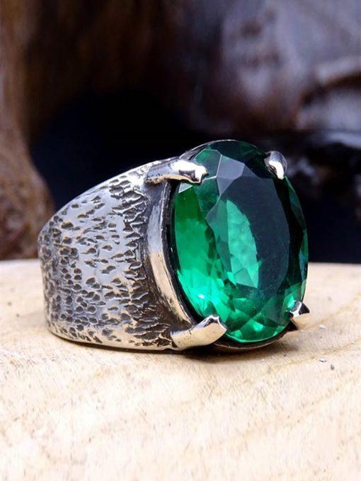 Emerald Gem Silver Mens Ring 1 510x680 - Emerald Gem Silver Mens Ring