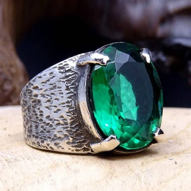 Emerald Gem Silver Mens Ring 1 650x650 - Emerald Gem Silver Mens Ring