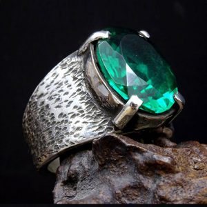 Emerald Gem Silver Mens Ring