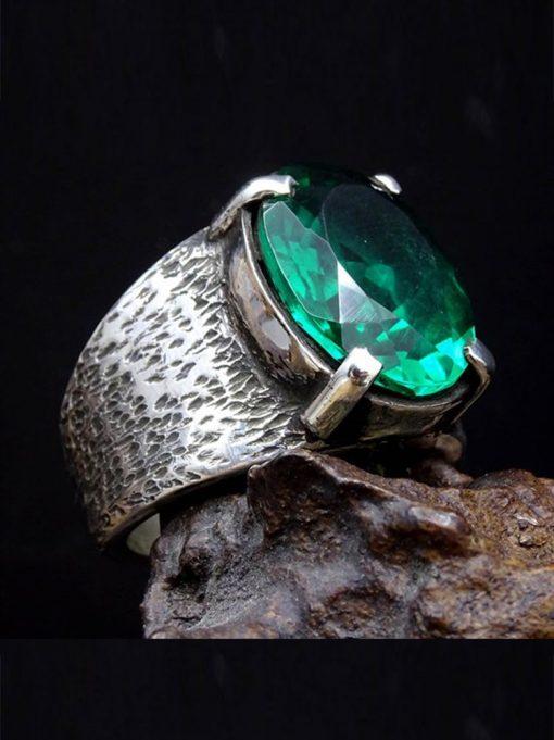 Emerald Gem Silver Mens Ring