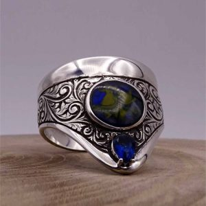 Esthetic Archery Silver Mens Ring